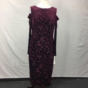 Maggy London Maroon Velvet Cold Shoulder Dress